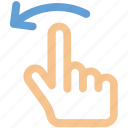 arrow, rotate icon, finger, gesture, hand