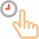 tap icon, hold, clock, hand