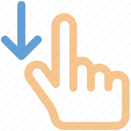 arrow, down, drag, finger, gesture, hand icon icon