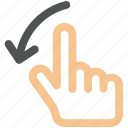 hand, swipe icon, finger, left, scroll, gesture, interactive