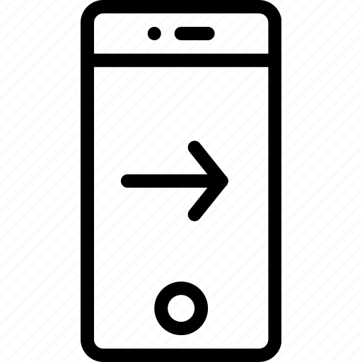 arrow, phone, right, screen, smart, touch icon