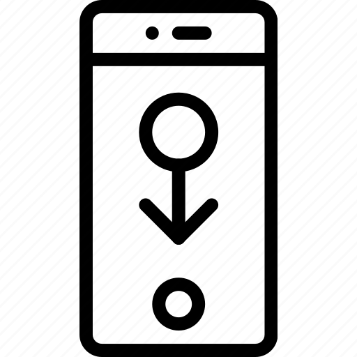 down, phone, screen, slide, smart, touch icon