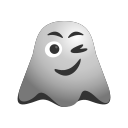 emoji, emoticon, face, ghost, happiness, smiley, smirking, winking icon