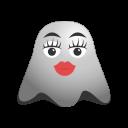 adorable, emoji, emoticon, ghost, kissing, makeup, smiley icon