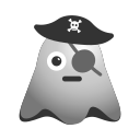 emoji, emoticon, eye, ghost, laughing, patch, smiley icon