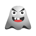 big, emoji, emoticon, ghost, grin, laughing, nerd, smiley icon