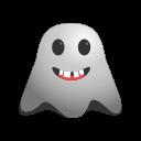 big, emoji, emoticon, ghost, grin, laughing, rofl, smiley icon