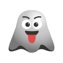emoji, emoticon, ghost, naughty, smiley, teasing, winking icon
