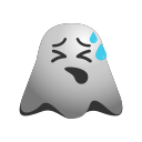 emoji, emoticon, exhausted, face, ghost, smiley, tired icon