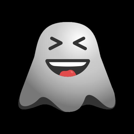 emoji, emoticon, ghost, naughty, smiley, teasing, winking icon