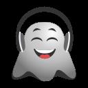 cheerful, dj, earphones, emoji, emoticon, ghost, headphones, smiley icon