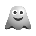 big, emoji, emoticon, ghost, grin, happy, smiley icon