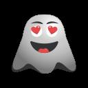 emoji, emoticon, ghost, happy, in, love, loved, smiley, valentine icon