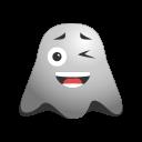 emoji, emoticon, ghost, smiley, smirking, winking icon