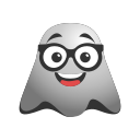 cool, emoji, emoticon, eyeglasses, ghost, happy, smiley icon