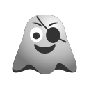 emoji, emoticon, eye, ghost, laughing, patch, pirate, smiley icon