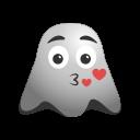 amorousness, cheerful, emoji, emoticon, ghost, kiss, romantic, smiley icon