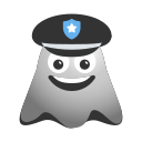 emoji, emoticon, ghost, laughing, officer, police, smiley icon