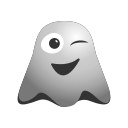 emoji, emoticon, ghost, happiness, smiley, smirking, winking icon