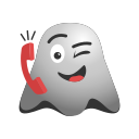 calling, emoji, emoticon, ghost, helpline, receiver, smiley icon