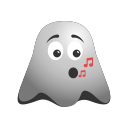 emoji, emoticon, ghost, music, note, singing, smiley icon