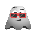 cool, emoji, emoticon, ghost, happy, smiley, sunglasses icon