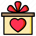 gift, box, bow, heart, valentine