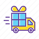 delivery, delivery truck, gift, gift box, gift delivery, truck icon