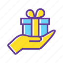birthday gift, gift, gift box, give a gift, man with gift box, present icon