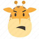 africa, animal, emoticon, giraffe, head, zoo icon