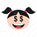 dollar, emoji, emoticon, eyes, face, girl, greedy, happy, women icon