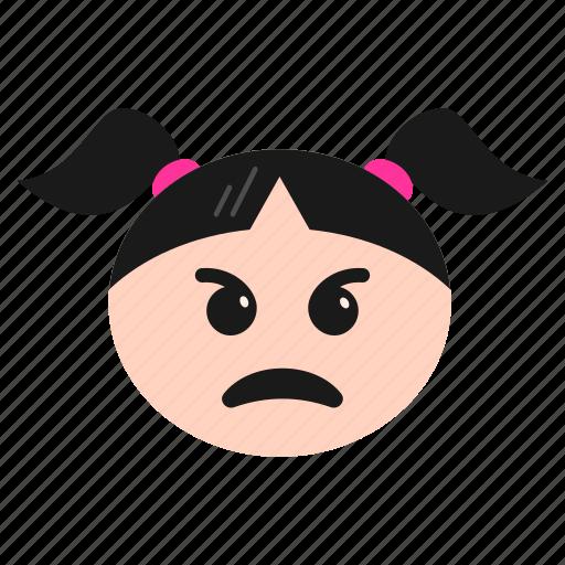 annoyed, emoji, emoticon, face, girl, poutin, women icon