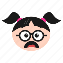 emoji, emoticon, face, girl, happy, sunglasses, women icon