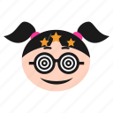 confused, dizzy, emoji, emoticon, face, girl, silly, women icon