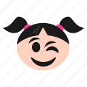 emoji, emoticon, face, girl, happiness, smiley, smirking, winking, women icon