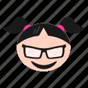 cool, emoji, emoticon, face, girl, happy, women