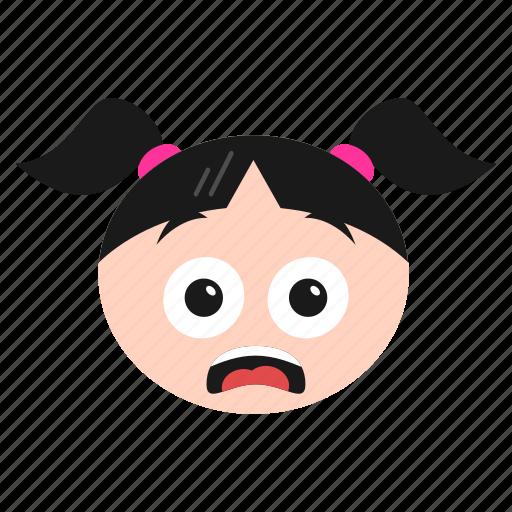 emoji, emoticon, face, girl, happy, surprised, women icon