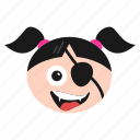 emoji, emoticon, eye, face, girl, laughing, patch, pirate, women