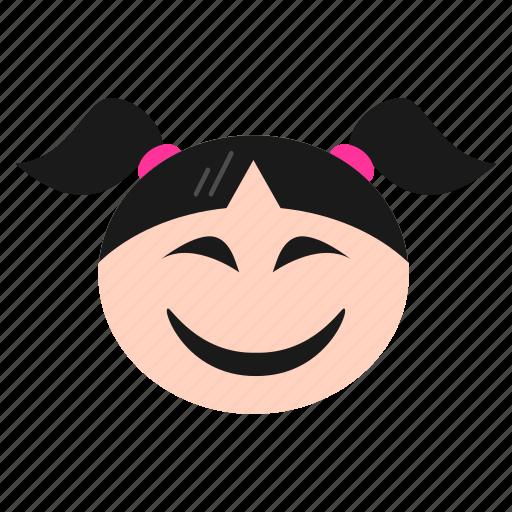 big, emoji, emoticon, face, girl, grin, laughing, women icon