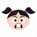emoticon, girl, face, emoji, grimacing, women, irritated icon