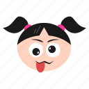 emoji, emoticon, face, girl, naughty, out, stuck, tongue, women icon