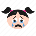 cry, crying, emoji, emoticon, face, girl, sad, weeping, women icon