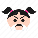angry, annoyed, emoji, emoticon, face, frowning, girl, women icon