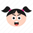 astonished, emoji, emoticon, face, girl, hushed, shocked, surprised, women icon