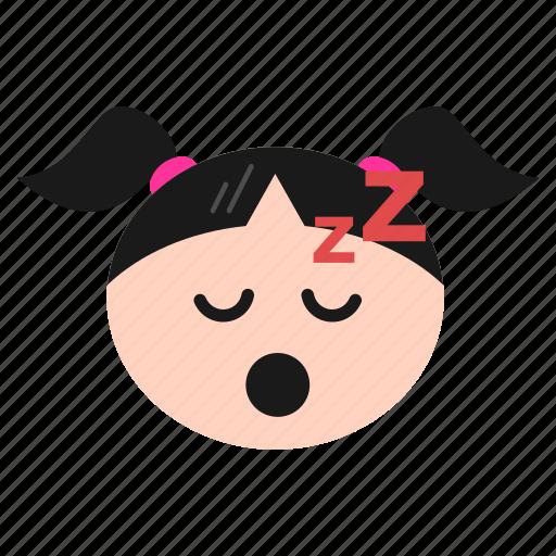 emoji, emoticon, face, girl, mouth, open, sleeping, snoring, women, zzz icon