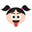 emoji, emoticon, face, girl, naughty, teasing, winking, women
