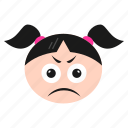 emoji, emoticon, face, girl, sad, tired, women icon