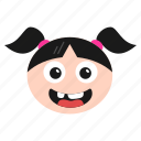 emoji, emoticon, face, girl, grin, laughing, women