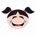 emoji, emoticon, face, girl, laughing, tears, women icon
