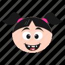 emoji, emoticon, face, girl, grinning, happy, women icon